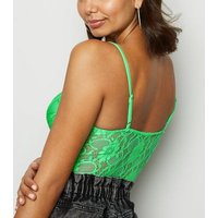 Green Neon Sheer Lace Bodysuit New Look