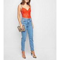 Red Sheer Lace Bodysuit New Look