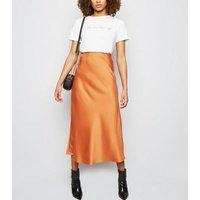 Tall Rust Satin Bias Cut Midi Skirt New Look