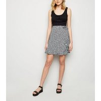 Black Ditsy Floral Wrap Front Mini Skirt New Look