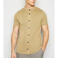 Mens Camel Knit Button Up Shirt New Look