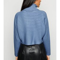 Petite Pale Blue Roll Neck Crop Jumper New Look