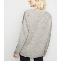 Pale Grey Slouchy V Neck Jumper New Look