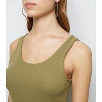 Khaki Ribbed Mini Bodycon Dress New Look