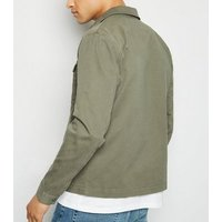 Khaki Utility Zip Front Shacket New Look