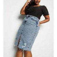 Curves Blue Acid Wash Ripped Denim Midi Skirt New Look