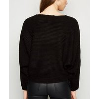 Black Ribbed Batwing Jumper New Look