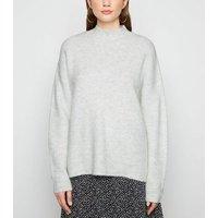 Pale Grey Stitch Knit High Neck Jumper New Look