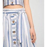 Cameo Rose White Stripe Midi Skirt New Look