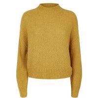 Mustard Stitch Knit High Neck Jumper New Look