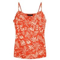 Red Tropical Floral Frill Trim Cami New Look