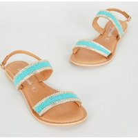 Teal Leather Bead Strap Sandals New Look
