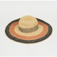 Brown Woven Straw Effect Stripe Hat New Look