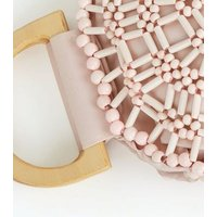 Pink Beaded Round Bag New Look