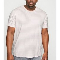 Plus Size Pink Stripe Crew T-Shirt New Look