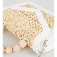 Stone Bamboo Beaded Handle Shoulder Bag New Look