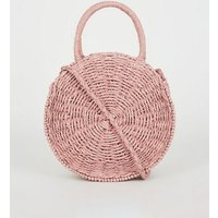 Pink Woven Straw Effect Round Bag New Look