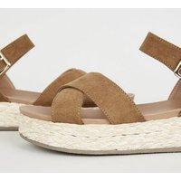 Tan Suedette Woven Raffia Flatform Sandals New Look Vegan