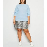 Curves Pale Blue Crew Neck Boxy Jumper New Look