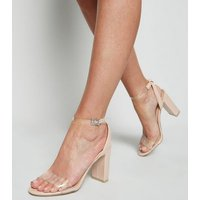 Pale Pink Patent Clear Strap Block Heels New Look Vegan