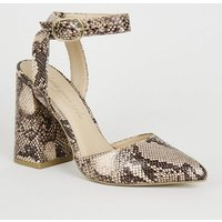 Stone Faux Snake Pointed Block Heels New Look
