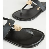 Wide Fit Black Leather-Look Hammered Ring Sandals New Look