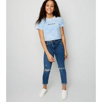 Girls Blue Tie Dye Maybe Later Slogan T-Shirt New Look