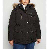 Curves Black Faux Fur Trim Parka Jacket New Look