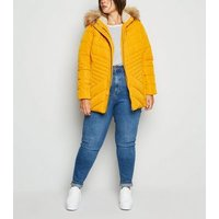 Curves Mustard Faux Fur Fitted Puffer Jacket New Look
