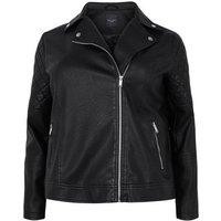 Curves Black Leather-Look Biker Jacket New Look