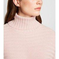 Pale Pink Roll Neck Crop Jumper New Look