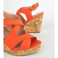 Wide Fit Orange Suedette Strappy Platform Wedges New Look