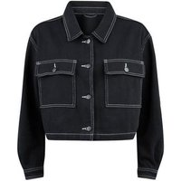 Cameo Rose Black Contrast Stitch Jacket New Look