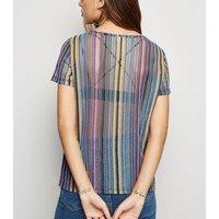 JDY Rainbow Stripe Mesh Top New Look