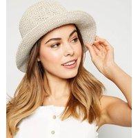 Stone Crochet Straw Bucket Hat New Look