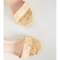 Off White Cork Print Low Wedge Heel Sandals New Look