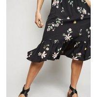 JDY Black Floral Frill Trim Midi Skirt New Look