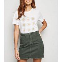 JDY Khaki Raw Hem Denim Skirt New Look
