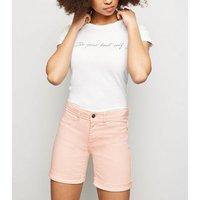 JDY Pink Turn Up Denim Shorts New Look