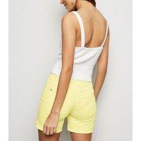JDY Yellow Turn Up Denim Shorts New Look