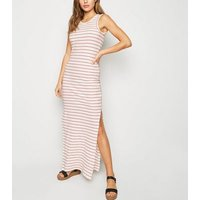 JDY White Stripe Ribbed Maxi Dress New Look