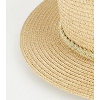 Girls Tan Woven Straw Effect Fedora Hat New Look