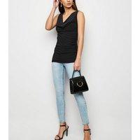 Black Sleeveless Cowl Neck Top New Look