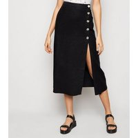 Black Linen Blend Button Front Midi Skirt New Look