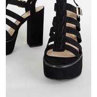 Black Suedette Platform Gladiator Sandals New Look
