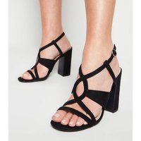 Black Suedette Swirl Strappy Block Heels New Look Vegan