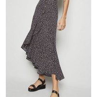 Black Spot Button Ruffle Wrap Midi Skirt New Look