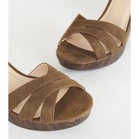Wide Fit Tan Suedette Wood Platform Sandals New Look