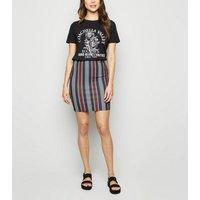 Black Stripe Mini Tube Skirt New Look