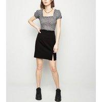Black Notch Hem Mini Skirt New Look